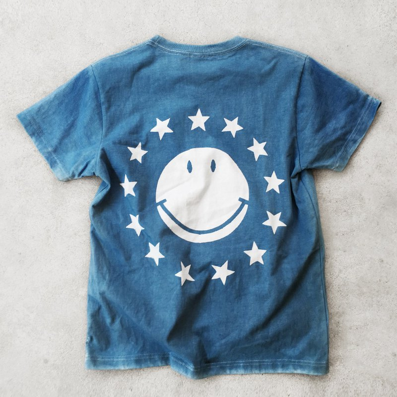 Major Folk│ natural plant type paste blue dyed smiley short-sleeved TEE shirt indigo couple models