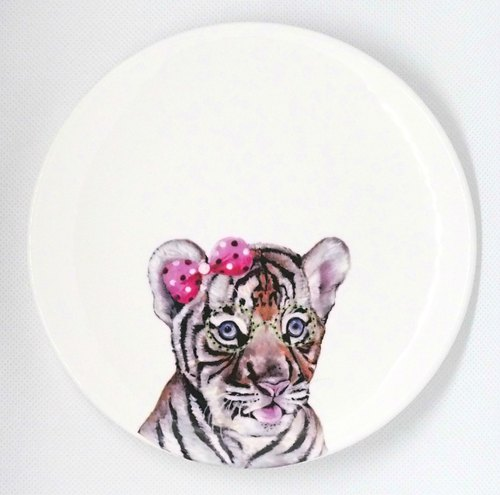 Hand-painted transfer snack tray: Sell cute glasses tiger