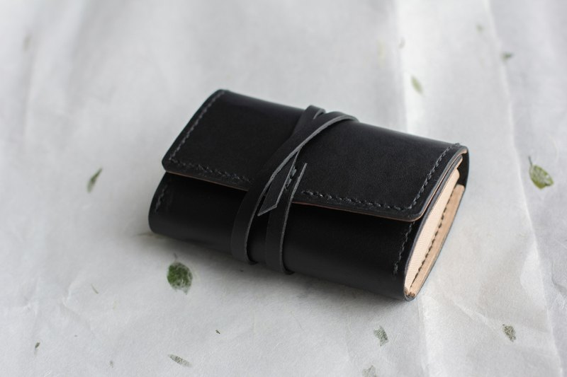 Two-Tone Vegetable Tanned Leather Card and Coin Wallet