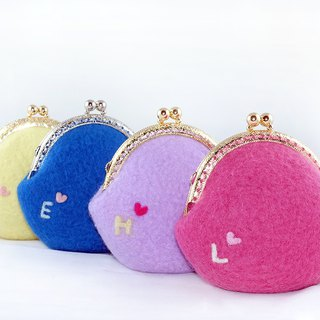Good hands made of solid color wool felt round gold three-dimensional mouth purse wallet / custom alphabet series