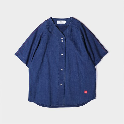 Cotton denim short-sleeved baseball shirt