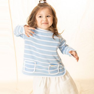 Shaped piping pockets striped breathable girls' clothes