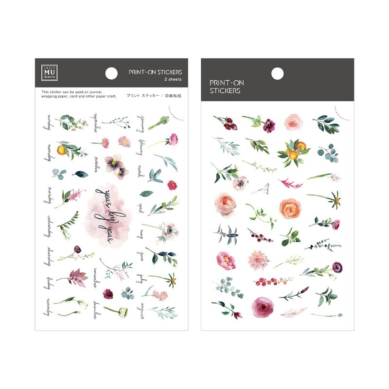 MU Print-On Stickers 72 | 2/Pkg | Journal、Scrapbook、Bujo |