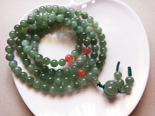 ORLI Jewelry Natural and Saitama 108 Rosary Ice Jasper 108 Beads and Tian Yu