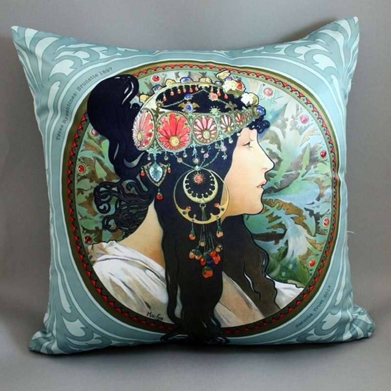 Mucha Byzantine Series - Colorful - Mucha Byzantium Brown Hair Pillow