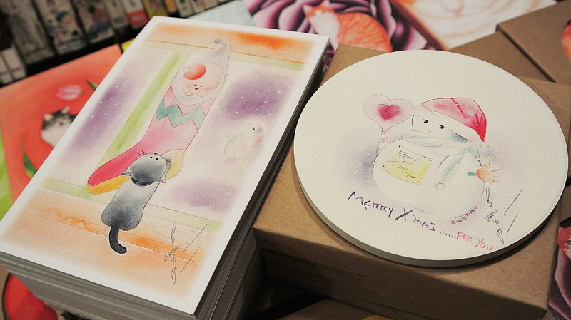 Love Snowman Ceramic Water Cup Coaster + Christmas Socks Postcard Set