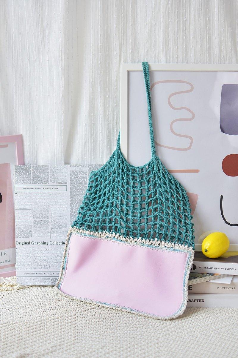 海綠色-粉色 Gradie 鉤針編織托特包