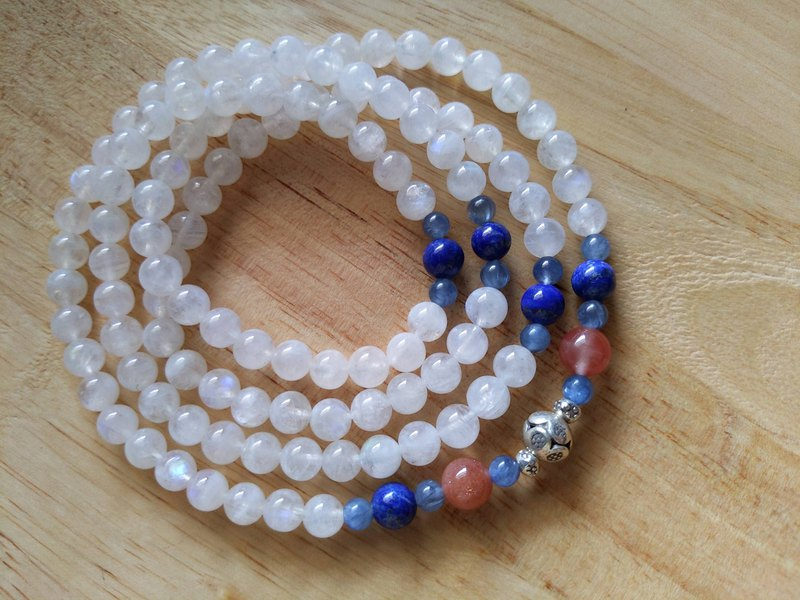 ORLI Jewelry Natural Moonstone 108 Rosary Blue Moonstone 108 Beads Natural Stone