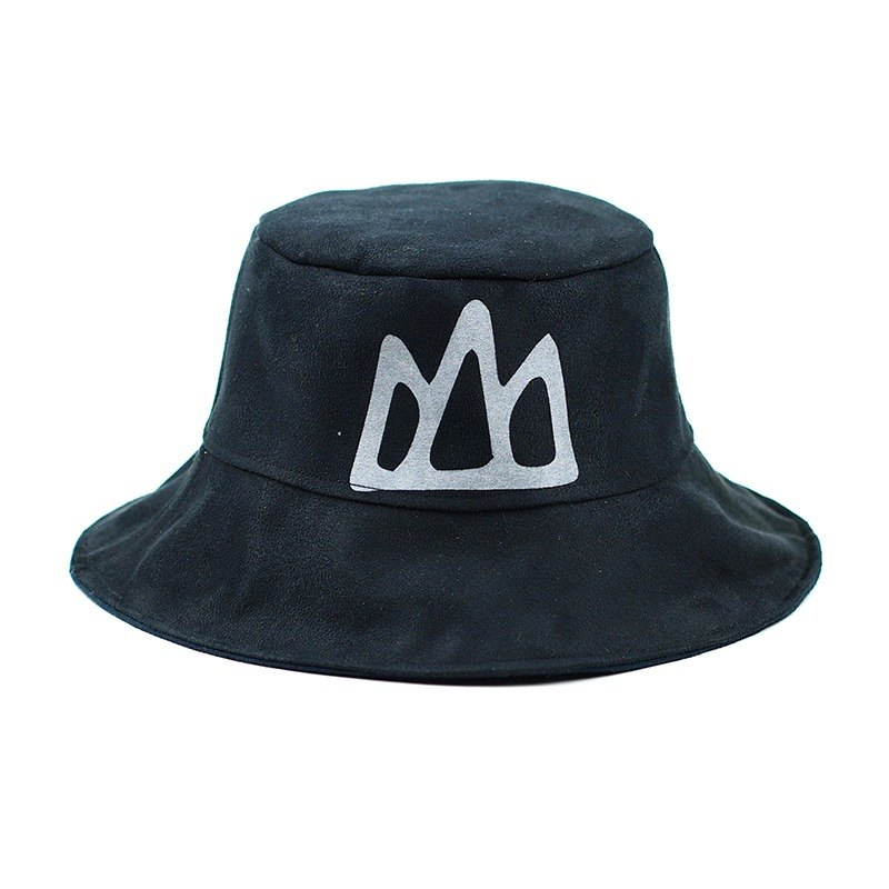 Calf Calf Village Village Hand-sided cap hat men and women hand-printed suede Mountain wild black hat {} [H-162]