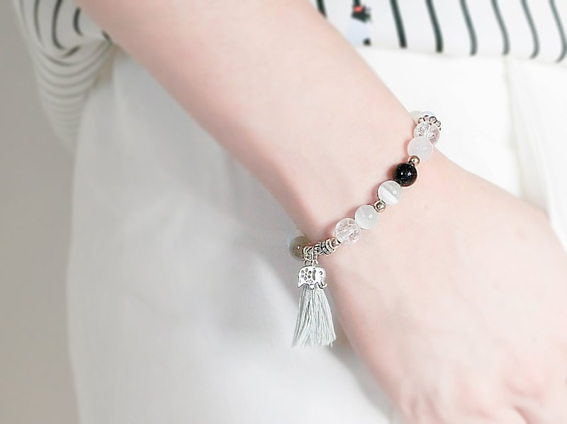 Sweet Moon Silver Bracelet - Handmade Natural Stone String Gray White Blue - Yue unicorn- Natural Stone 925 Silver Cangnan