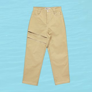 High-waist cut trousers - khaki