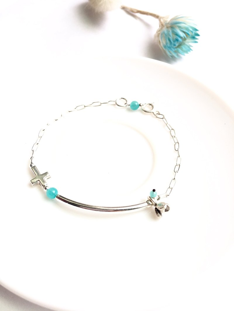 Ops Amazonite Cross Silver Gemstone Beaded Bracelet