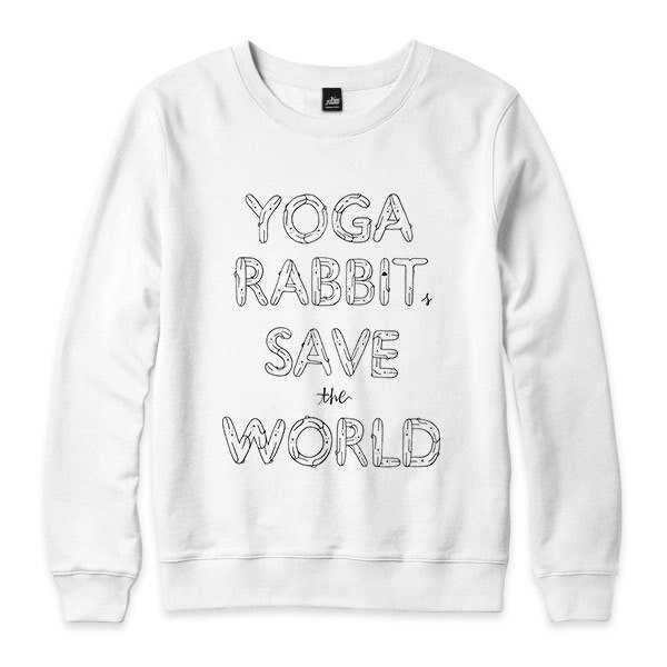 YOGA RABBITS SAVE the WORLD - white - neutral version University T