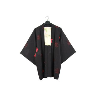 Back to Green-Japan brought back feather weaving rose silhouette/vintage kimono
