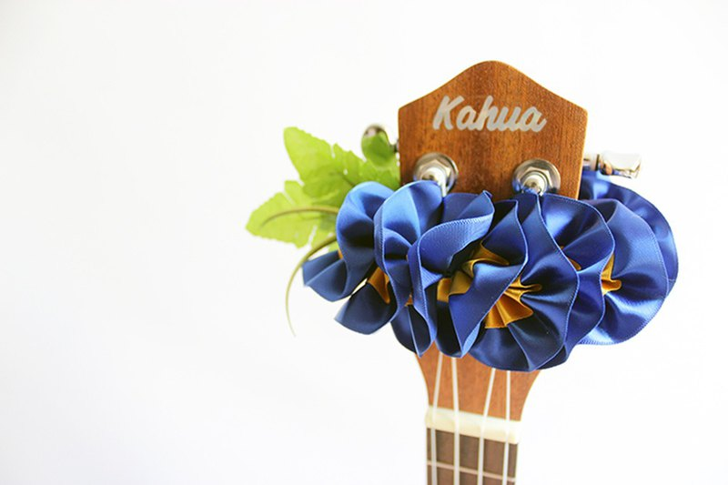 ribbon lei for ukulele (blue plumeria) / ukulele strap / ukulele ribbon /