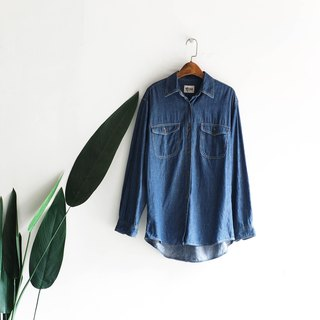 Deep sea blue classic plain face love log antique cotton denim shirt jacket coat shirt