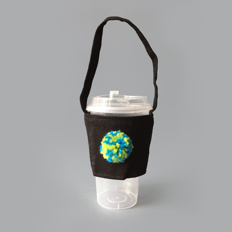 Color pompom black canvas drink / kettle bag