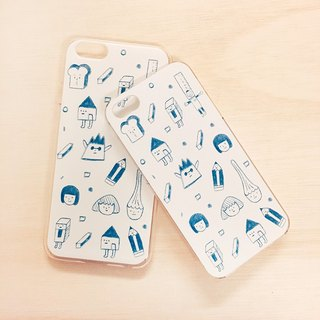 Blue Crayon / Transparent iPhone Case