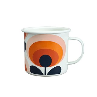 British import Wild & Wolf and Orla Kiely joint design 珐琅 mug (persimmon flower) spot