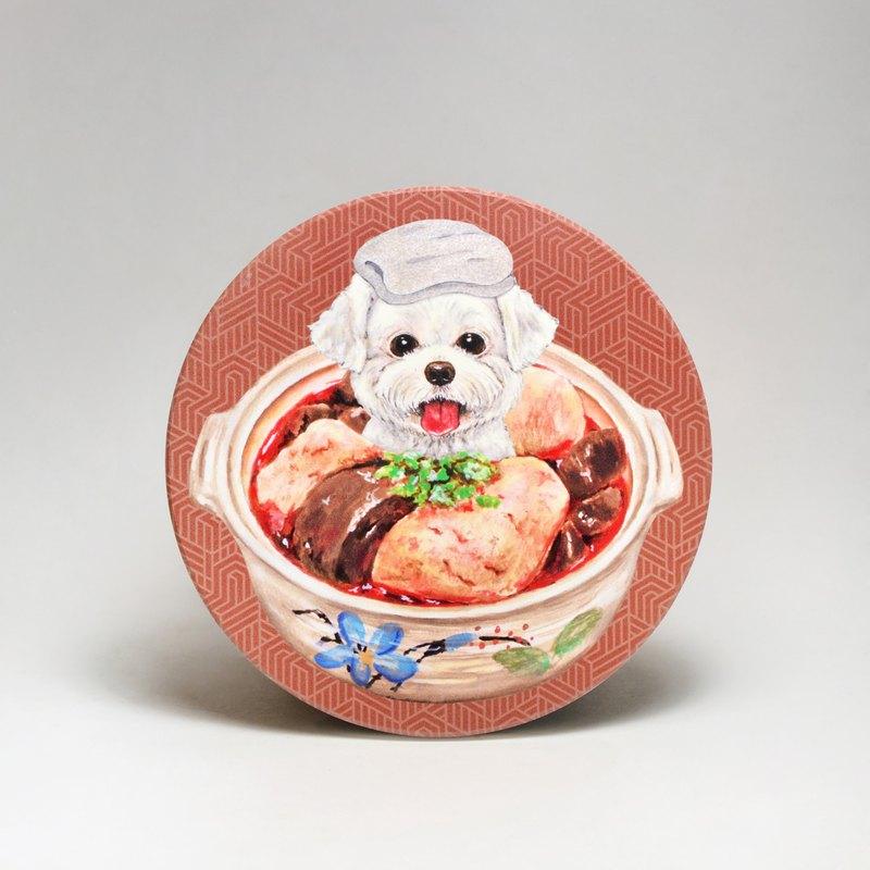 吸水陶瓷杯墊-馬爾濟斯麻辣鴨血臭豆腐 (送貼紙)(可加購客製文字)