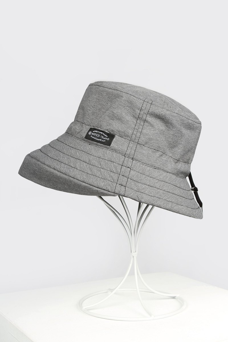 Water-repellent Packable Bucket Hat - Heatehr Grey - Extended Brim
