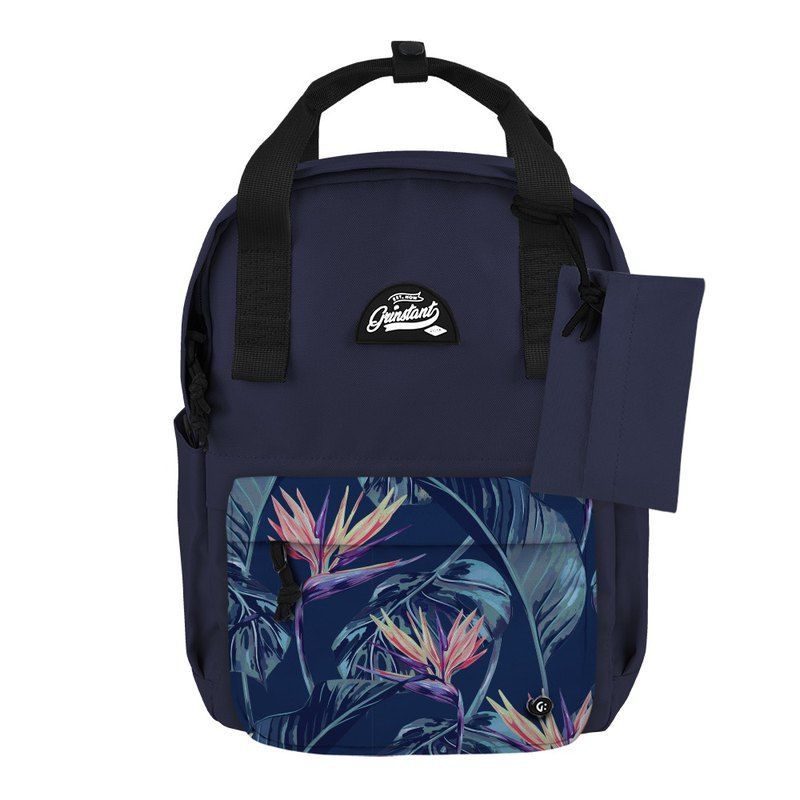 Grinstant mix and match detachable group 13 吋 backpack - Adventure series (dark blue with orange blossom)