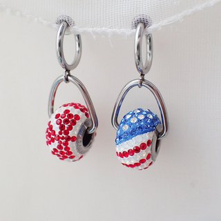 Lightup workshop - earrings with Flag of America & Canada, SWAROVSKI ELEMENTS
