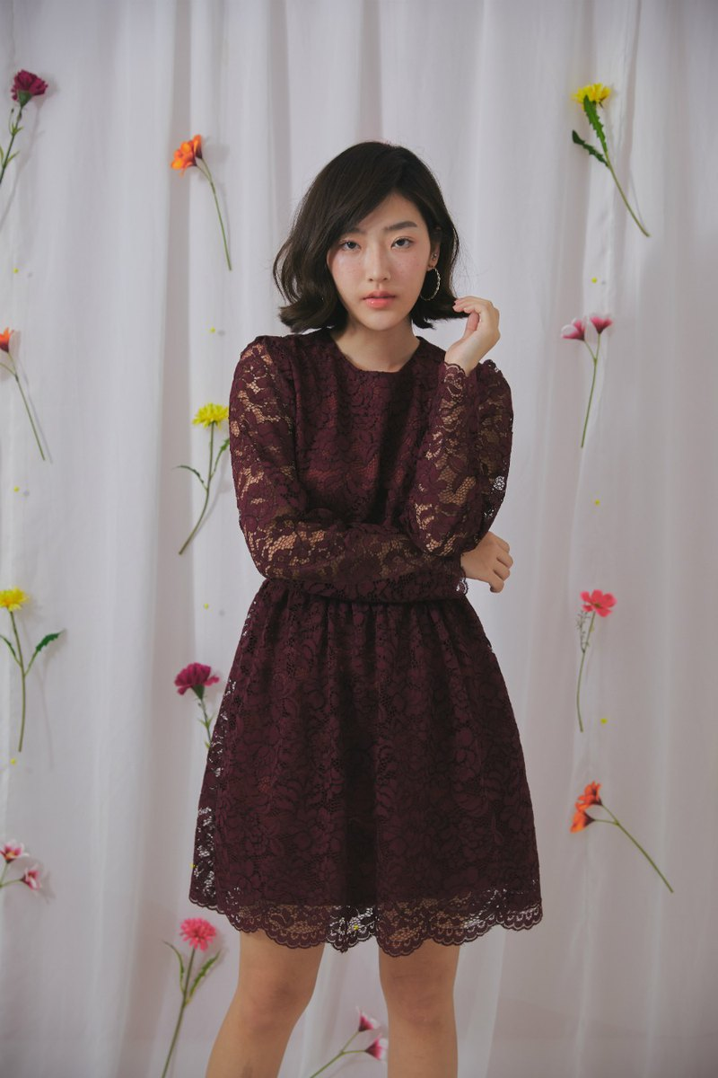 Clara lace dress (burgundy)