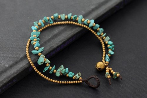 Turquoise Stone Brass Double Strand Bracelets Simple Beaded