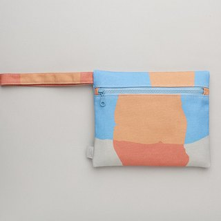 Long ear zipper bag / clutch / waterproof paint orange blue