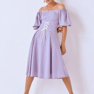 Classical puff-sleeves high-waist dress/D003