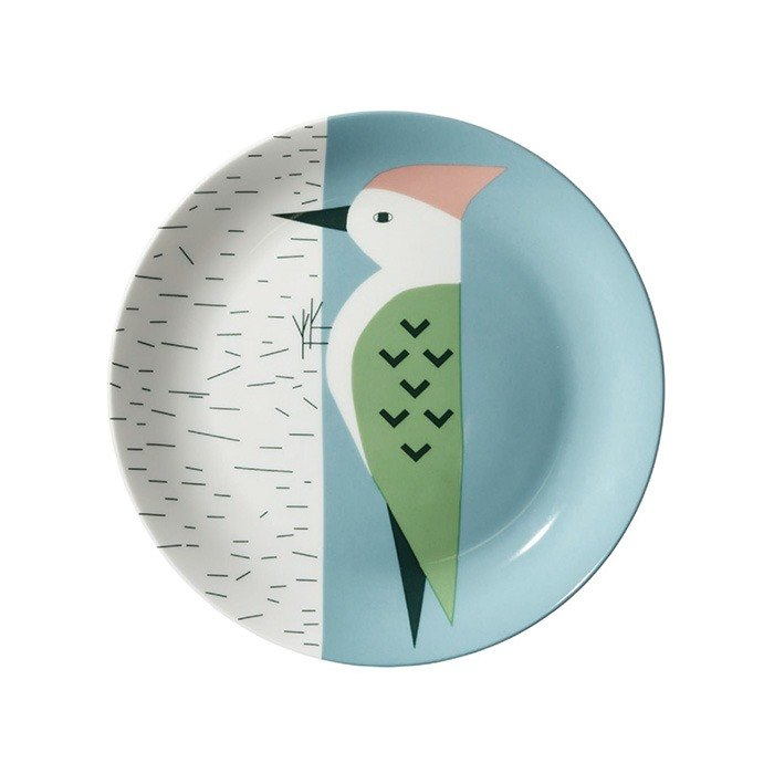 Woodpecker bone china dinner plate | Donna Wilson