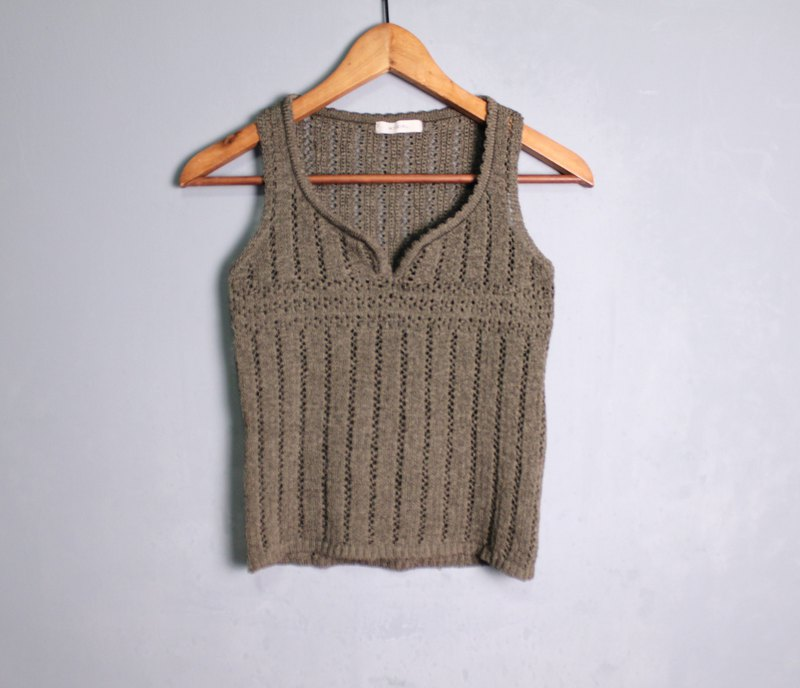FOAK vintage olive gray green hollow crochet vest