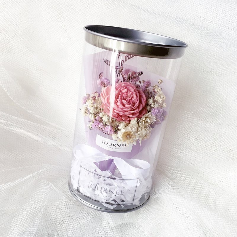 Journee 8th flower pot - pink purple dream fragrance with card / dry bouquet rose star