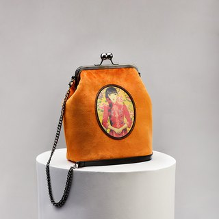 CoinQian velvet vintage mouth bag shoulder Messenger bag bright orange
