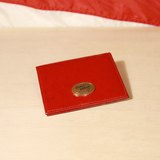 Back to Green:: 正紅 Vivienne Westwood名片夾 凸起壓紋 金色logo vintage wallet ( WT-31 )