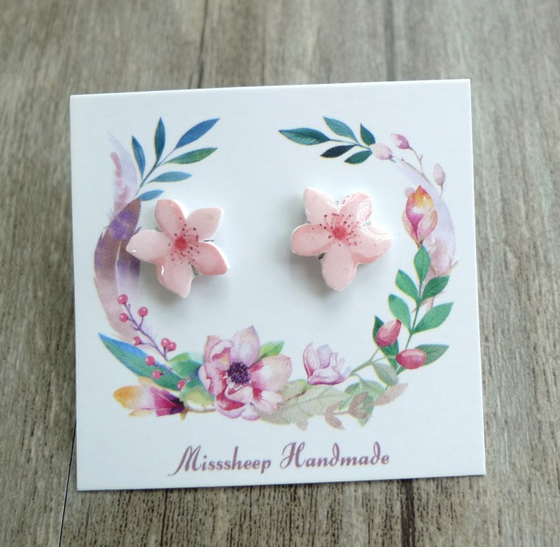 Misssheep- [U16] pink elegant flower hand-made earrings (ear needle / translucent ear clip) [a pair]