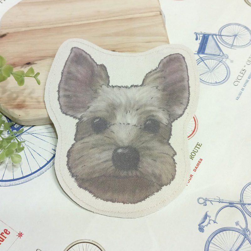 Yorkshire - coarse cloth purse (can be used as a MRT card) - dog sketch series ~ dog head shape