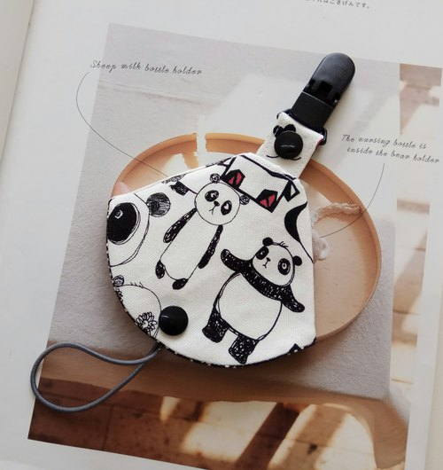 Panda bear panda moon gift two in one pacifier clip < pacifier dust bag + pacifier clip> dual function