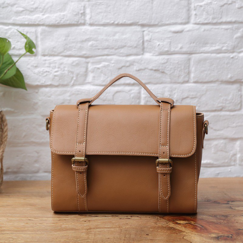 handmade leather  briefcase  purse tote bag shoulder bag