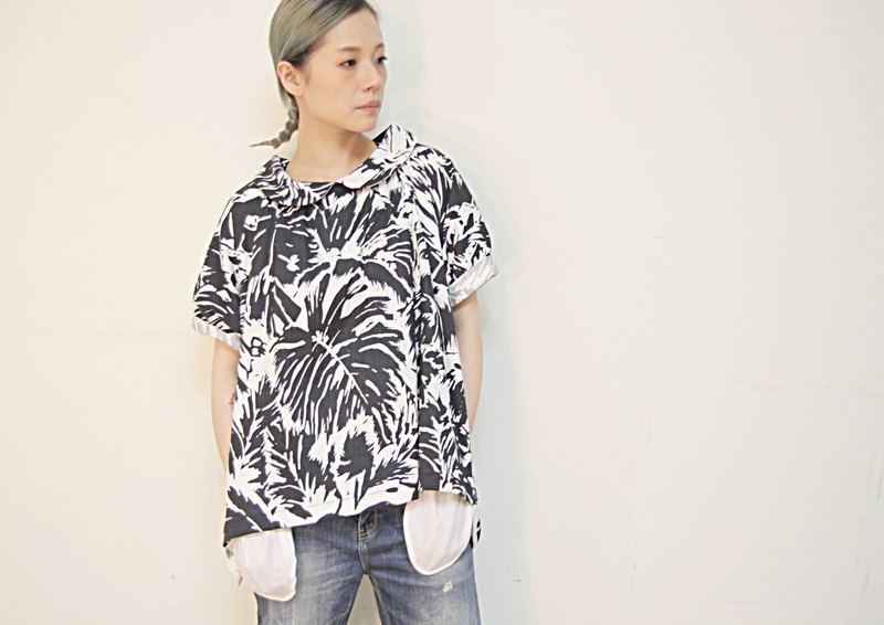 Elastic cotton and linen plant print with short sleeves and long tops
