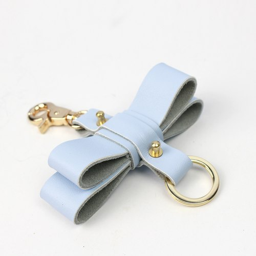 Zemoneni Leather oversize butterfly style key chain in Light Blue color