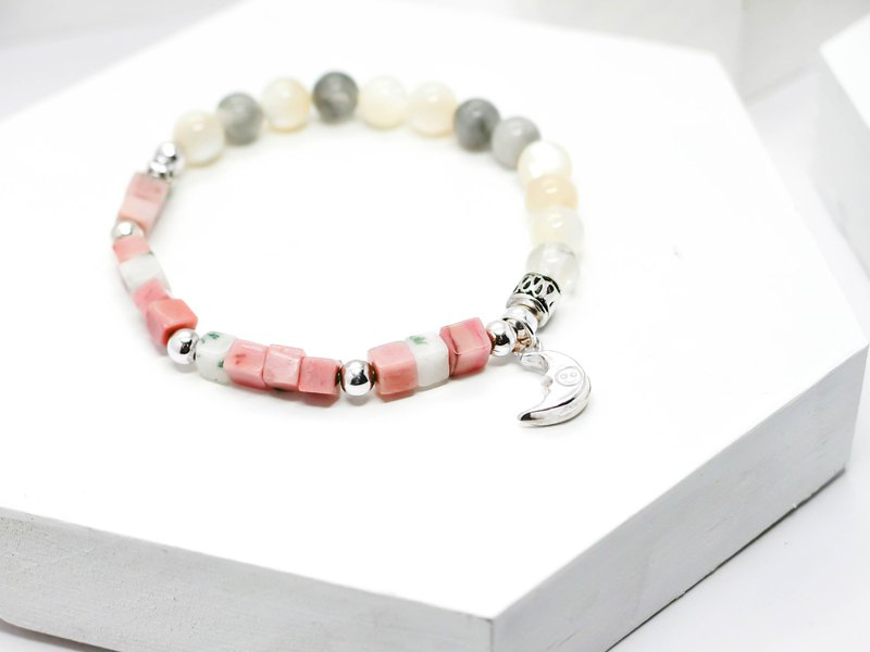 Gentle Moon Natural Stone Silver Bracelet │ Pink System 玥unicorn Rose Stone