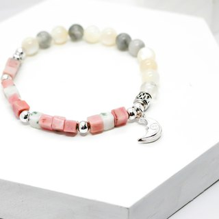 Gentle moon natural silver bracelet │ pink unicorn 925 sterling silver Tibetan silver gift birthday accessories Rhodonite