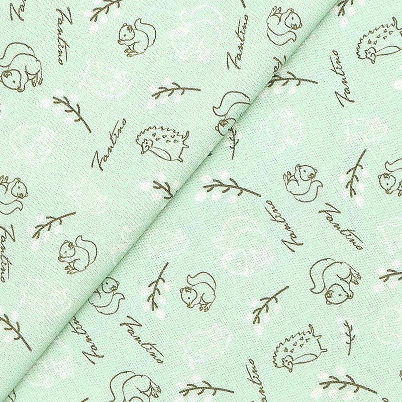 Cotton and linen material (forest kaleidoscope) mint green