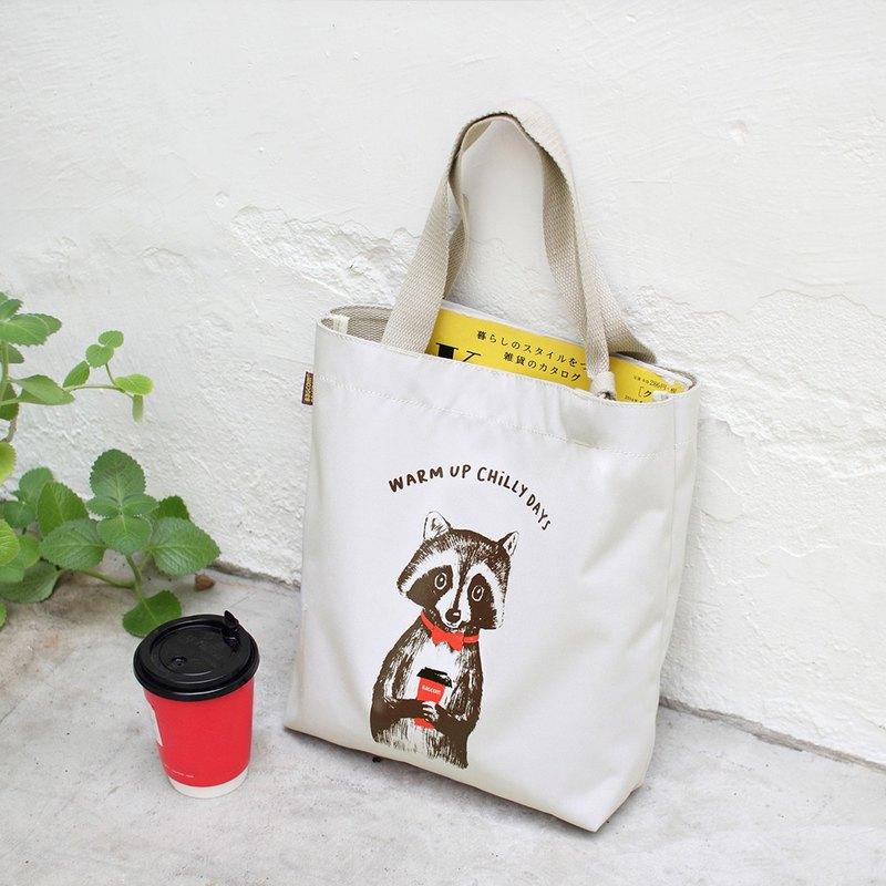 Raccoon tote Bag -White_100660