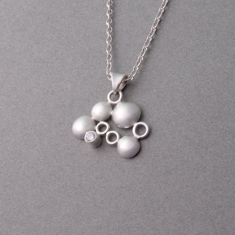 Bubble - Sterling Silver Geometric Zircon Necklace