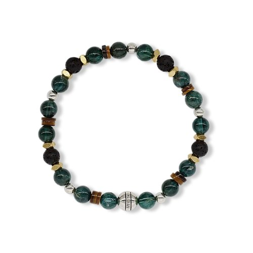 String Series Second Night Bracelet 925 Sterling Silver Brass Apatite Volcanic Rock Shell