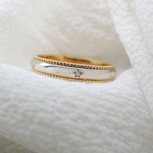 Two-tone piping K gold ring