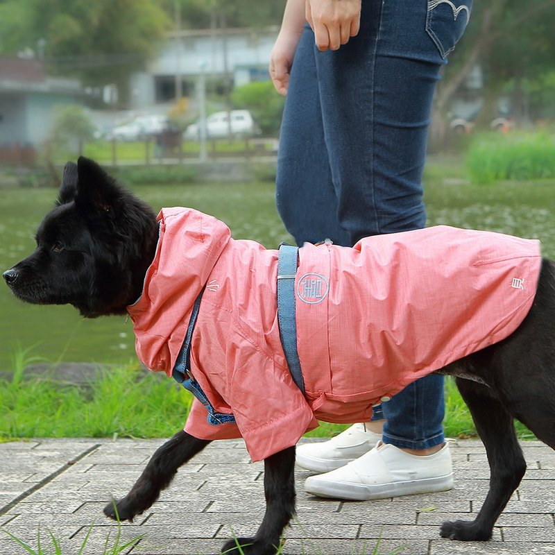 Waterproof, breathable, cool, functional, pet raincoat - red